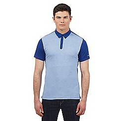 BEN SHERMAN - Blue dogtooth print jacquard polo shirt
