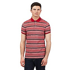 BEN SHERMAN - Red striped pique polo shirt