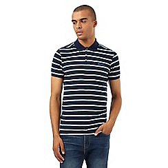 BEN SHERMAN - Big and tall navy classic striped piqu  polo shirt