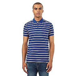 BEN SHERMAN - Big and tall bright blue classic striped piqu  polo shirt
