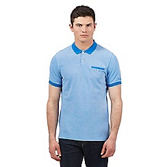 BEN SHERMAN - Big and tall blue oxford tonic pique polo shirt