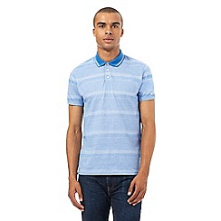 BEN SHERMAN - Light blue mixed stripe polo shirt