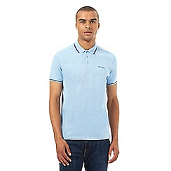 BEN SHERMAN - Big and tall blue tipped piqu  polo shirt