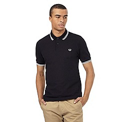 Fred Perry - Big and tall black textured polo shirt
