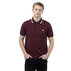 Fred Perry - Big and tall maroon slim fit polo shirt