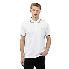 Fred Perry - Big and tall white slim fit polo shirt