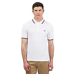Fred Perry - Big and tall White twin tipped slim polo shirt