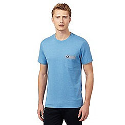 Fred Perry - Light blue polka dot gingham trim regular fit t-shirt