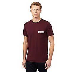 Fred Perry - Maroon polka dot gingham trim regular fit t-shirt