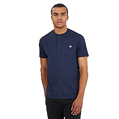 Fred Perry - Blue embroidered logo granddad t-shirt