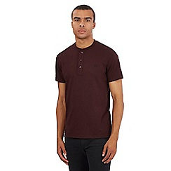 Fred Perry - Brown embroidered logo granddad t-shirt