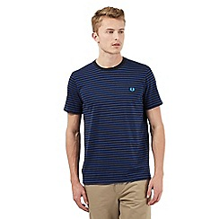 Fred Perry - Big and tall blue double striped print t-shirt
