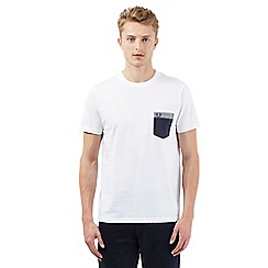 Fred Perry - Big and tall white gingham print pocket t-shirt