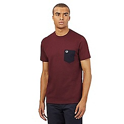 Fred Perry - Dark red textured pocket t-shirt