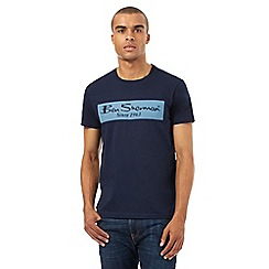 BEN SHERMAN - Big and tall navy dogtooth print t-shirt
