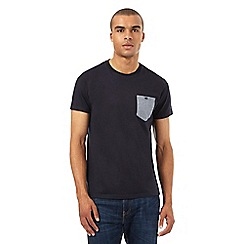 BEN SHERMAN - Navy dogtooth contrast pocket t-shirt