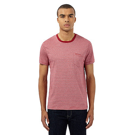 Ben sherman big and tall red fine stripe print pocket t for Big and tall printed t shirts