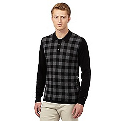 Ben Sherman - Big and tall black check panel jumper