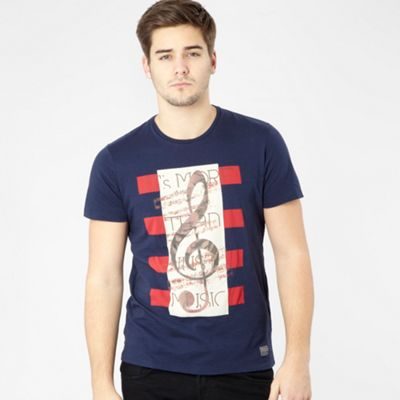 Navy treble clef print t-shirt