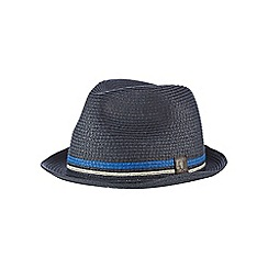 Fred Perry - Navy straw twin tipped trilby hat