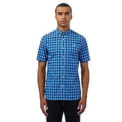 Fred Perry - Blue gingham checked print slim fit shirt