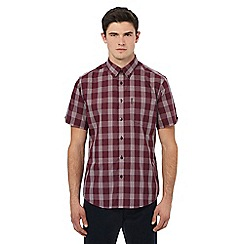 Ben Sherman - Dark red short sleeve grid checked shirt