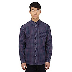 Ben Sherman - Big and tall dark blue button down checked shirt