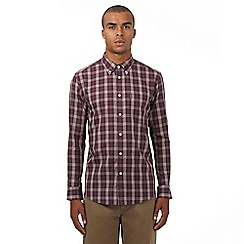 Ben Sherman - Dark red checked regular fit shirt