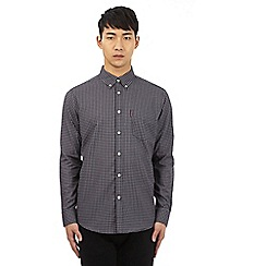 Ben Sherman - Black polka dot check print button down shirt