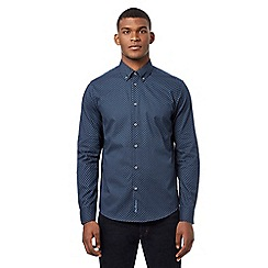 Ben Sherman - Navy button down chevron print shirt