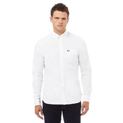 Fred perry white regular fit oxford shirt debenhams for Fred perry mens shirts sale
