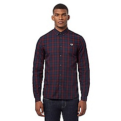 Fred Perry - Blue and red checked print embroidered logo shirt