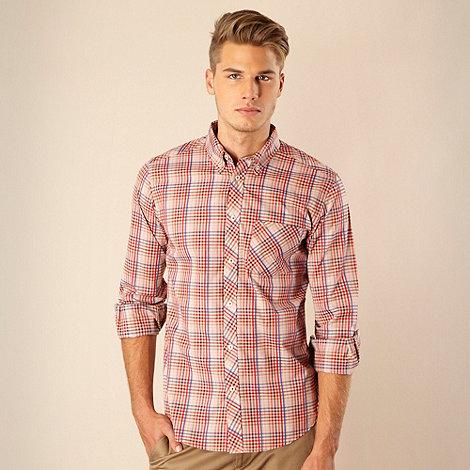 Ben Sherman - Red mini checked long sleeved shirt