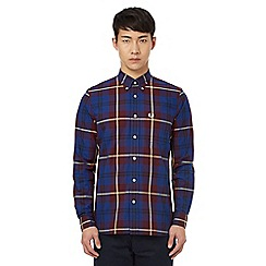 Fred Perry - Dark red check print button down shirt
