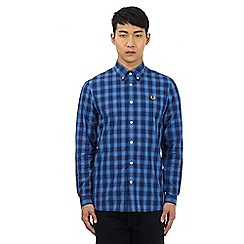 Fred Perry - Blue button down check print shirt