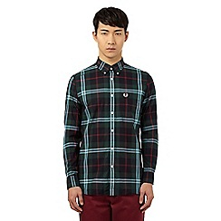 Fred Perry - Green checked print regular fit shirt