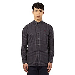 Fred Perry - Dark grey gingham checked regular fit shirt