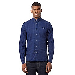 Fred Perry - Dark blue gingham button down shirt