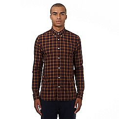 Fred Perry - Dark yellow checked regular fit shirt