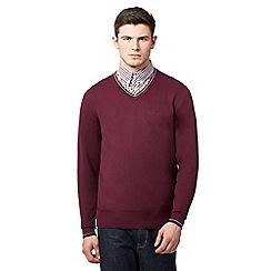 Ben Sherman - Big and tall dark pink v neck jumper