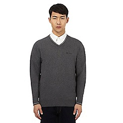 Ben Sherman - Big and tall grey v neck jumper