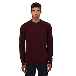 Ben Sherman - Big and tall dark red crew neck jumper