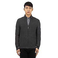 Ben Sherman - Big and tall grey cable knit zip through sweater