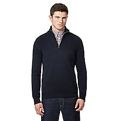 Ben Sherman - Navy cable knit yoke sweater