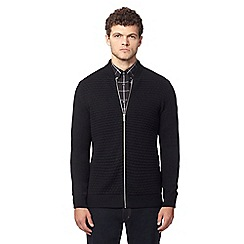 Ben Sherman - Black wool textured zip-through cardigan