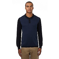 Ben Sherman - Navy herringbone patterned long sleeved polo shirt