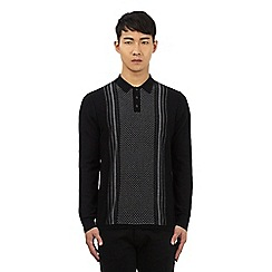 Ben Sherman - Black long sleeve chevron print polo shirt