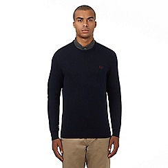 Fred Perry - Navy pure Merino wool logo applique crew neck jumper