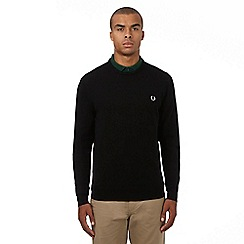 Fred Perry - Black pure Merino wool logo applique crew neck jumper