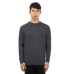 Fred Perry - Grey pure Merino wool crew neck jumper